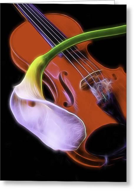 Calla Lily Greeting Cards - Calla lily With Violin Greeting Card by Garry Gay