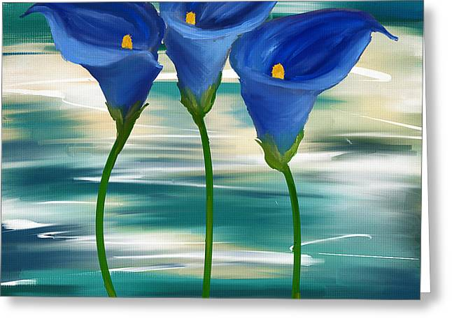 Calla Lily Greeting Cards - Calla Trio- Calla Lily Paintings Greeting Card by Lourry Legarde