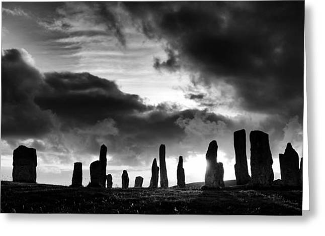Sacred Circle Greeting Cards - Callanish Standing Stones Monochrome Greeting Card by Tim Gainey