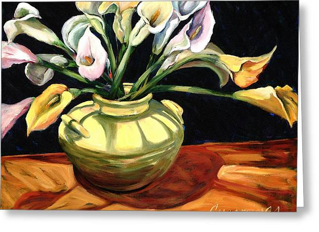 Floral Still Life Mixed Media Greeting Cards - Callas - Floral Art By Betty Cummings Greeting Card by Betty Cummings