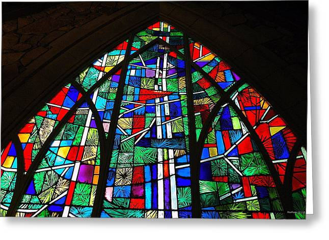 Butterfly Prey Greeting Cards - Callaway Gardens Chapel Stained Glass Greeting Card by Roe Rader