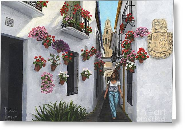 Andalucia Greeting Cards - Calle de las Flores Cordoba Greeting Card by MGL Meiklejohn Graphics Licensing