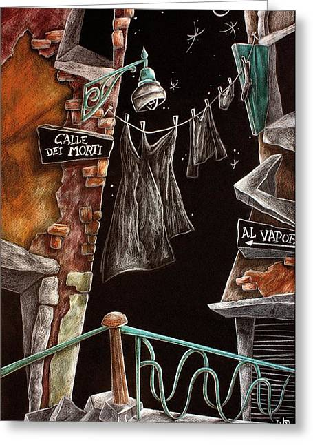 Night Lamp Drawings Greeting Cards - CAlle Dei MoRTi - Larte di Venezia  Greeting Card by Arte Venezia