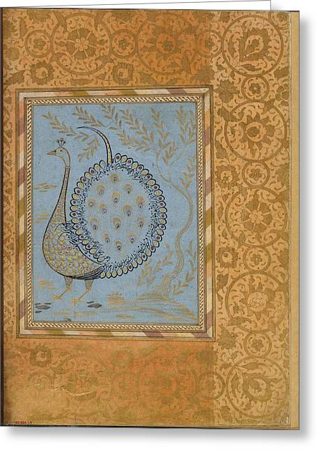 Calligraphic Composition In Shape Of Peacock Greeting Card by Celestial Images
