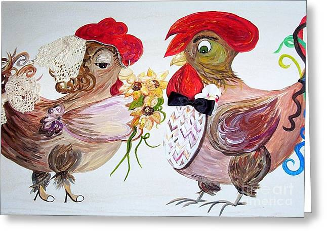 Kitchen Greeting Cards - Calling All Chicken Lovers Say I Do Greeting Card by Eloise Schneider