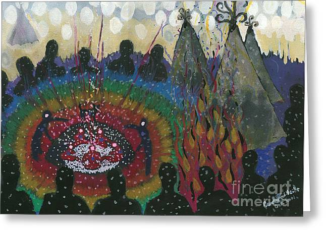 Sweat Paintings Greeting Cards - Calling the Grandfathers Greeting Card by Carole Robitaille