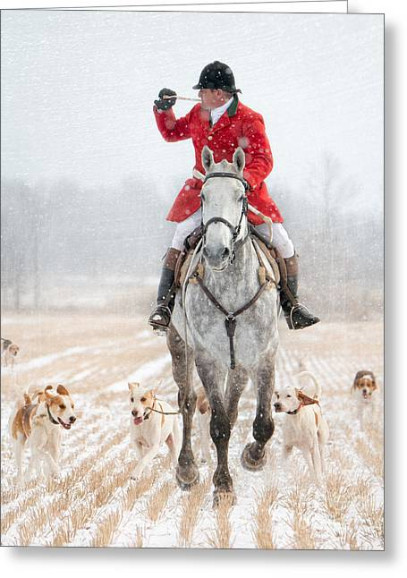 Foxhunting Greeting Cards - Calling the Hounds Back Greeting Card by Heather Swan
