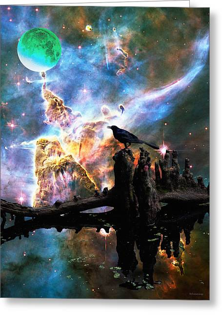 Nebula Photograph Greeting Cards - Calling The Night - Crow Art By Sharon Cummings Greeting Card by Sharon Cummings