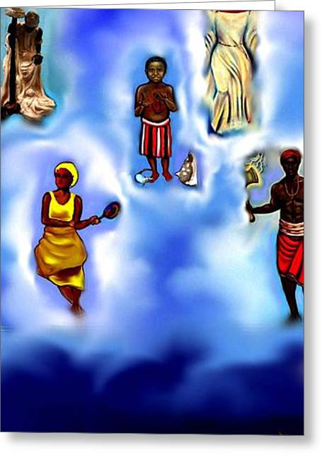 Santeria Greeting Cards - Calling The Orishas Greeting Card by Carmen Cordova