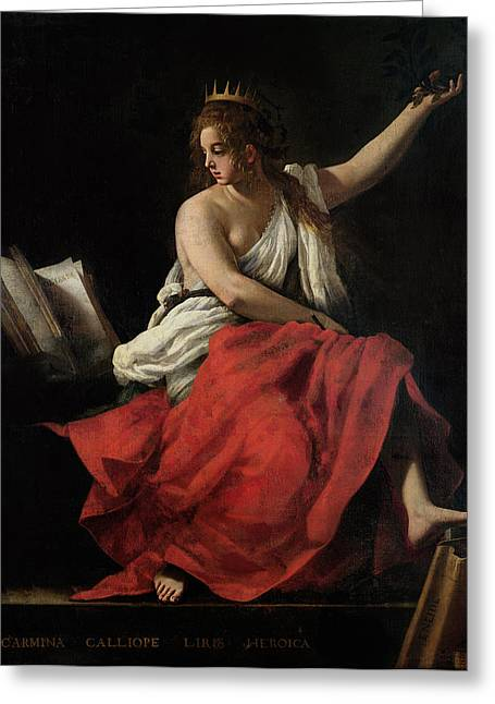 Poet Photographs Greeting Cards - Calliope, Muse Of Epic Poetry Oil On Canvas Greeting Card by Giovanni Baglione