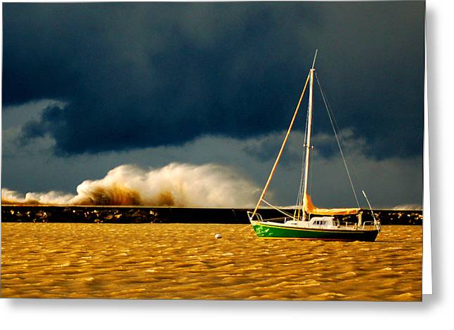 Sailboat Ocean Greeting Cards - Calm Before the Storm Greeting Card by Nicole Dietz
