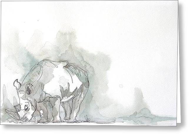 Recently Sold -  - Rhinoceros Greeting Cards - Calm Before The Storm Greeting Card by Shantelle Labrie
