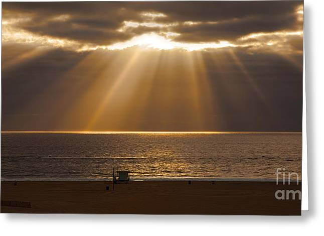 Seascape With Cloudy Sky Greeting Cards - Calm Clouds With Magnificent Sun Rays Over Ocean Greeting Card by Jerry Cowart