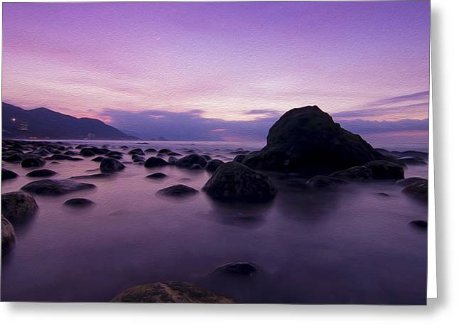 Moon Beach Digital Art Greeting Cards - Calm Evening Greeting Card by Aged Pixel