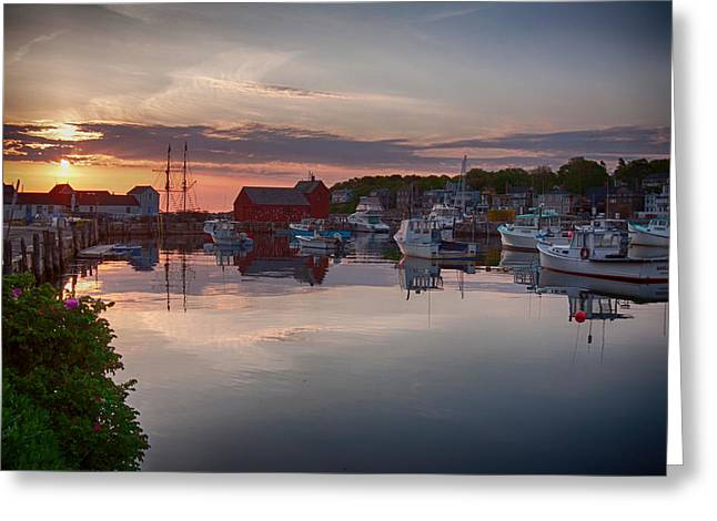 Lobster Shack Greeting Cards - Calm Harbor at Dawn Greeting Card by Jeff Folger