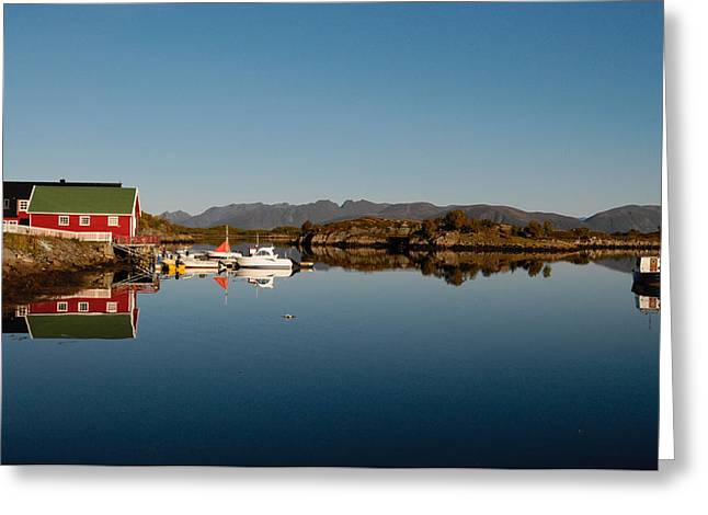 Norwegian Boathouses Greeting Cards - Calm harbor in Norway Greeting Card by Intensivelight