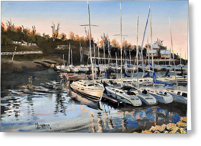 Barkley Greeting Cards - Calm Harbor Greeting Card by Spencer Meagher