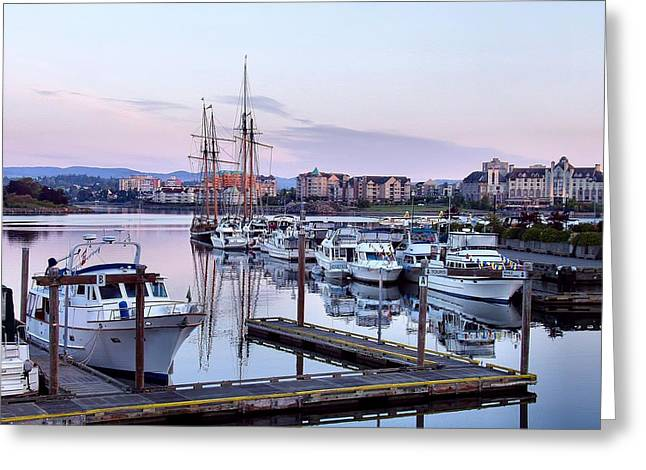 Best Sellers -  - Boats In Reflecting Water Greeting Cards - Calm in the Harbour Greeting Card by Jenny Hudson