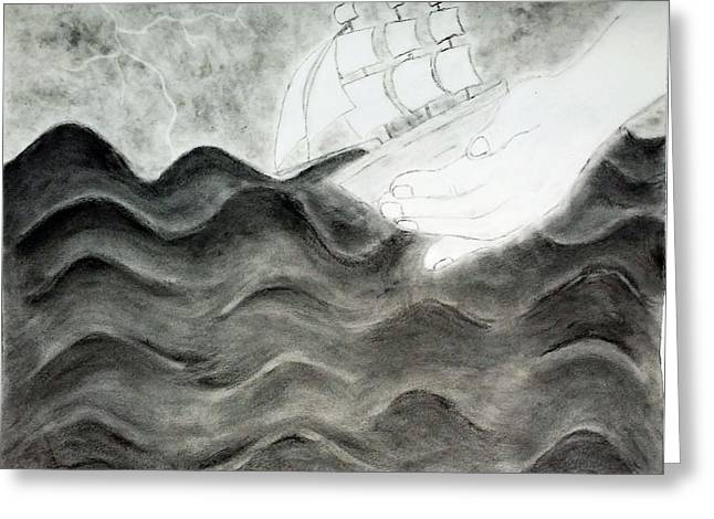 Storm Prints Drawings Greeting Cards - Calm In The Storm Greeting Card by Musonda Nyendwa