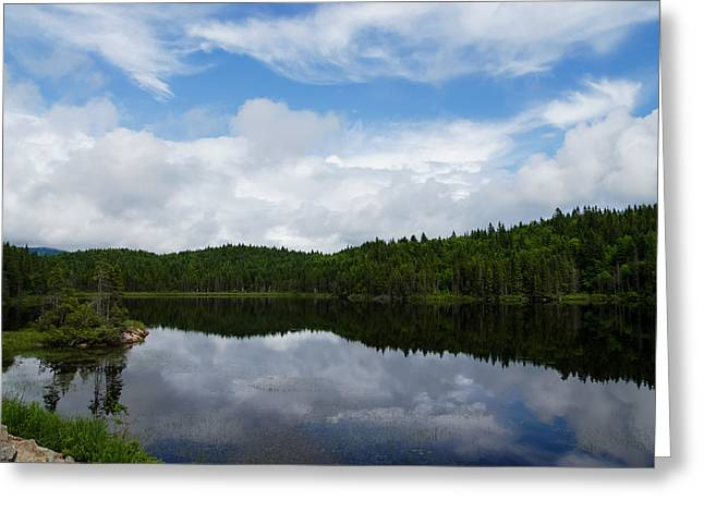 Turbulent Skies Greeting Cards - Calm Lake - Turbulent Sky Greeting Card by Georgia Mizuleva