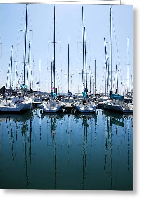 Sailboats Docked Greeting Cards - Calm reflection Greeting Card by Ok More Photos