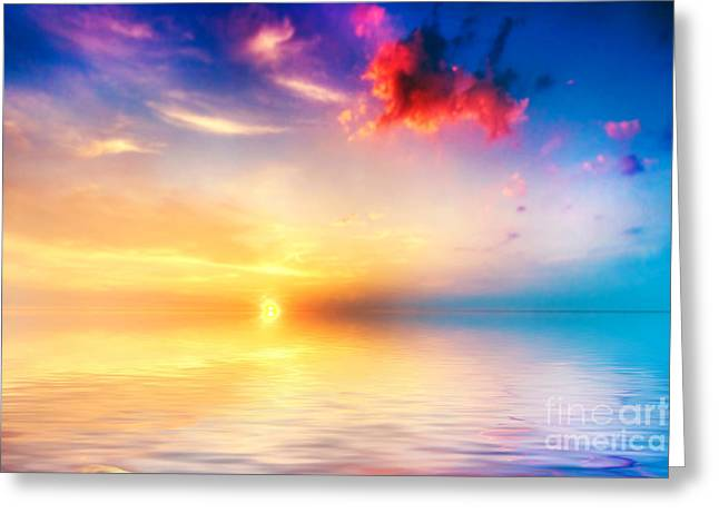 New Greeting Cards - Calm sea at sunset Beautiful sky with clouds Greeting Card by Michal Bednarek