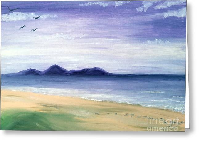 Panoramic Ocean Paintings Greeting Cards - Calm Seashore Greeting Card by I F Abbie Shores