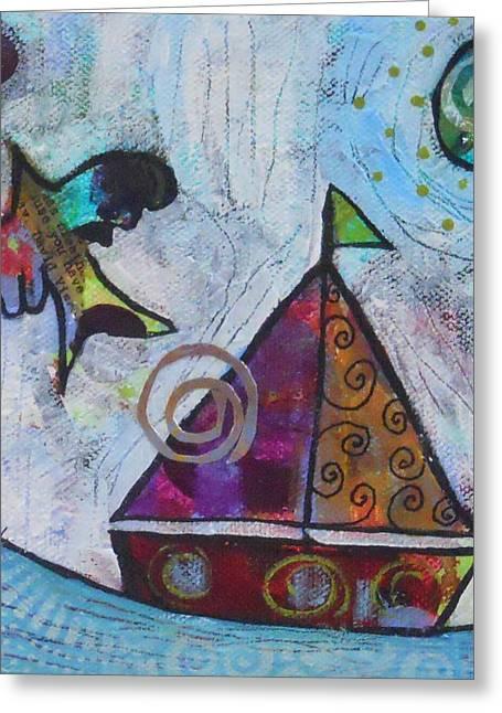 Yellow Sailboats Mixed Media Greeting Cards - Calm Greeting Card by Shannon Crandall