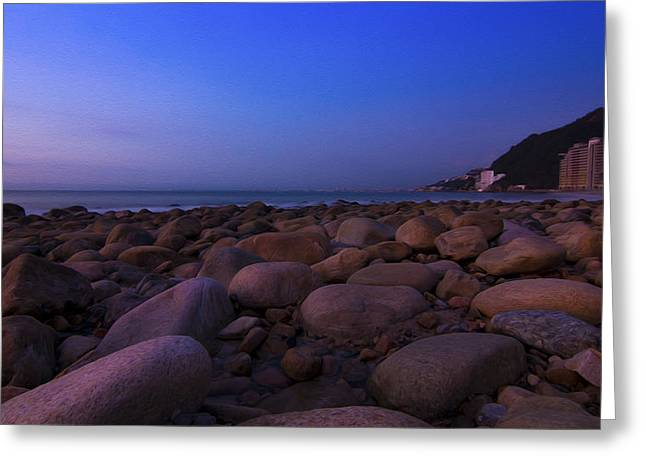 Moon Beach Digital Art Greeting Cards - Calm Summer Night Greeting Card by Aged Pixel