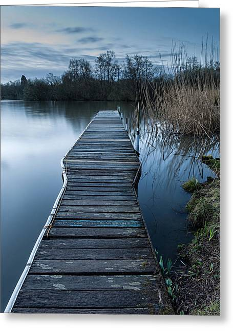 Moonlit Night Greeting Cards - Calm tranquil moonlit landscape over lake and jetty Greeting Card by Matthew Gibson