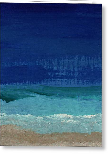 Beach White Greeting Cards - Calm Waters- Abstract Landscape Painting Greeting Card by Linda Woods
