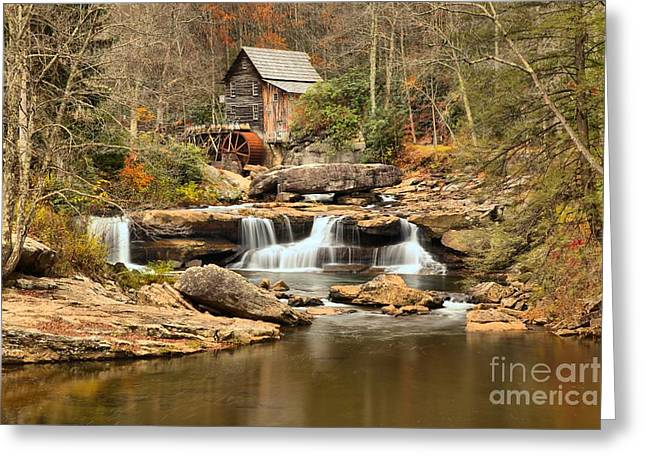 Grist Mill Greeting Cards - Calm Waters At Glade Creek Greeting Card by Adam Jewell
