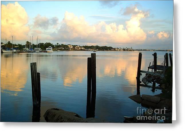 Galveston Greeting Cards - Calm Waters Greeting Card by Audrey Van Tassell