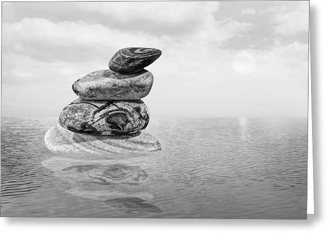 Balance In Life Greeting Cards - Calm Waters in Black and White Greeting Card by Gill Billington
