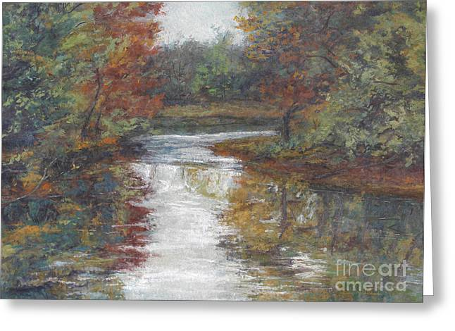 Gregory Arnett Paintings Greeting Cards - Calm Waters - October Greeting Card by Gregory Arnett
