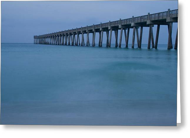 Pensacola Fishing Pier Greeting Cards - Calm Waters Greeting Card by Trevor Daughtry
