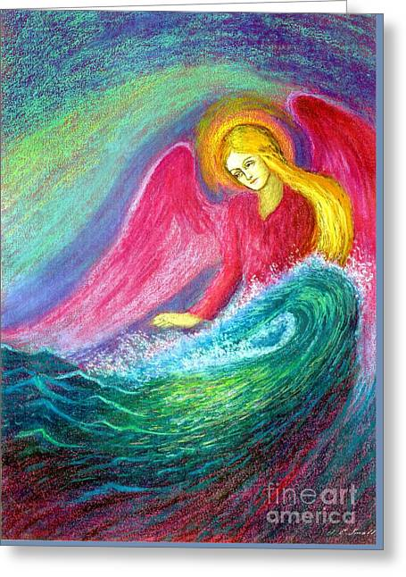 Icon Paintings Greeting Cards - Calming Angel Greeting Card by Jane Small
