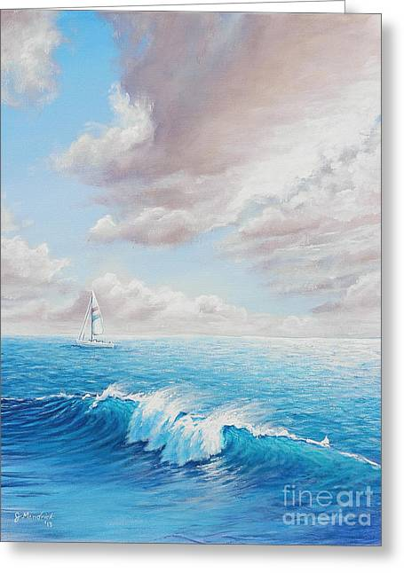Santa Cruz Sailboat Greeting Cards - Calming Ocean Greeting Card by Joe Mandrick