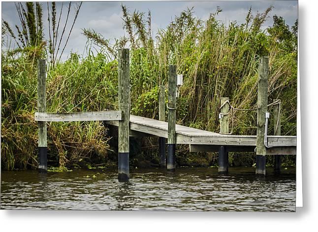 Wooden Platform Greeting Cards - Caloosahatchee River Dock Greeting Card by Carolyn Marshall