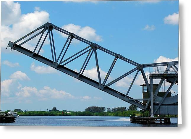 Drawbridge Greeting Cards - Caloosahatchee Train Draw Bridge Greeting Card by Carolyn Marshall