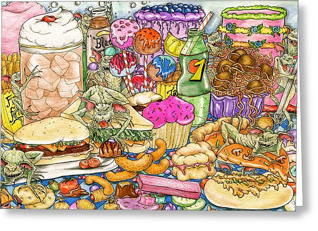 Fries Drawings Greeting Cards - Calorie Gremlins Greeting Card by Julie McDoniel
