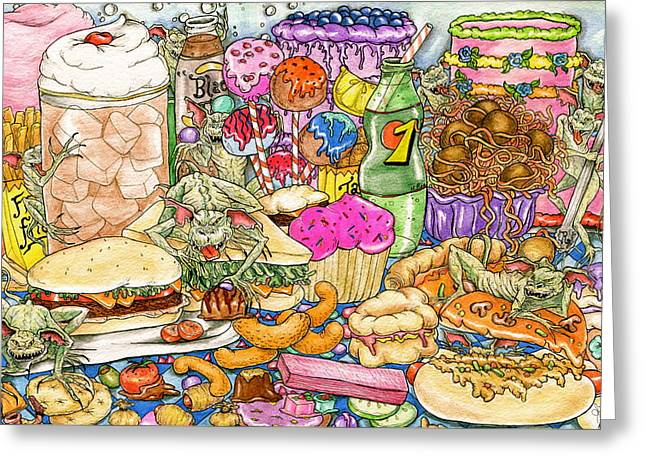 Calorie Gremlins Greeting Card by Julie McDoniel