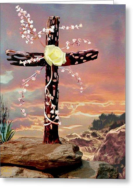 Calvary Cross Greeting Card by Ron Chambers