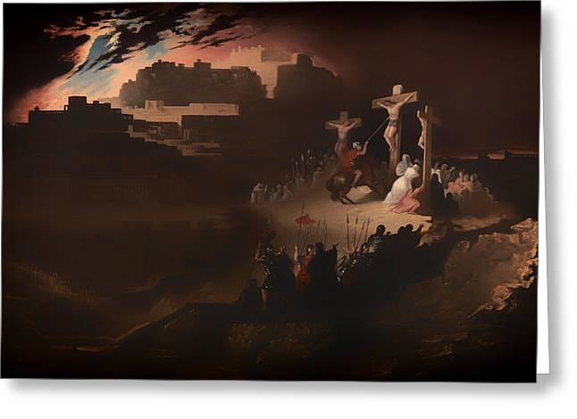 Religious Artwork Paintings Greeting Cards - Calvary Greeting Card by John Martin