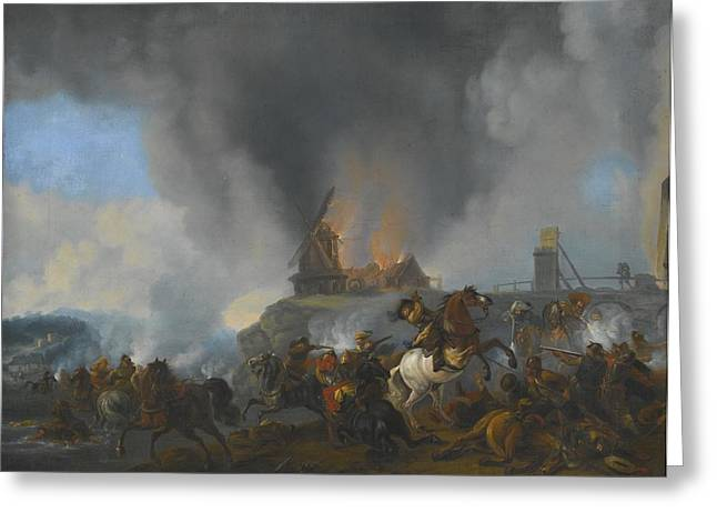 Calvary Skirmish On A River Bank  Greeting Card by Celestial Images