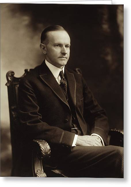 1910s Portrait Greeting Cards - Calvin Coolidge 1918 Greeting Card by Mountain Dreams
