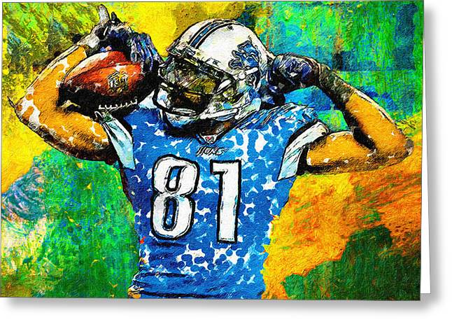 Pro Football Paintings Greeting Cards - Calvin is Muscles Greeting Card by John Farr