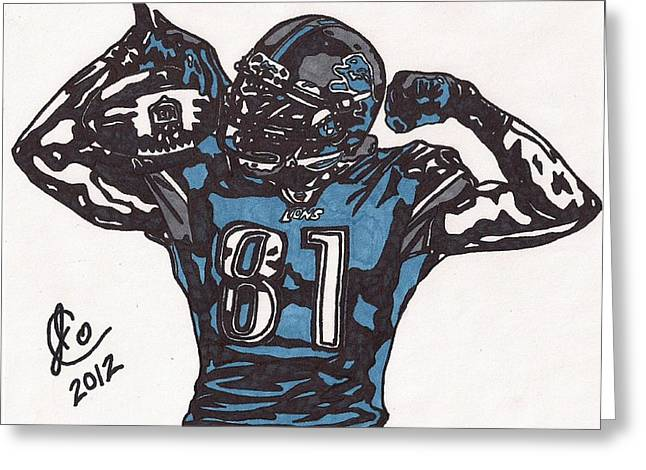Recently Sold -  - Player Drawings Greeting Cards - Calvin Johnson Jr 1 Greeting Card by Jeremiah Colley