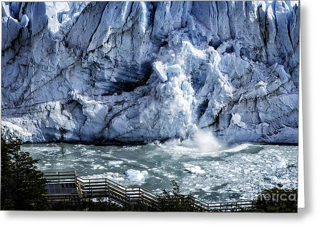Santa Cruz Art Greeting Cards - Calving Glacier Greeting Card by Timothy Hacker