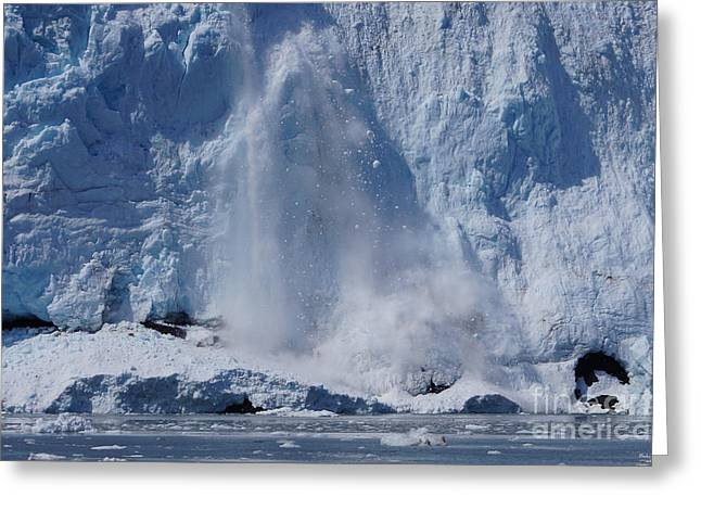 Alaskan Canvas Art Prints Greeting Cards - Calving Holgate Glacier Greeting Card by Jennifer White